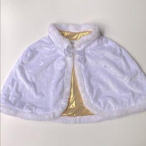 Disney Princess White Faux Fur Cape Size 5-6